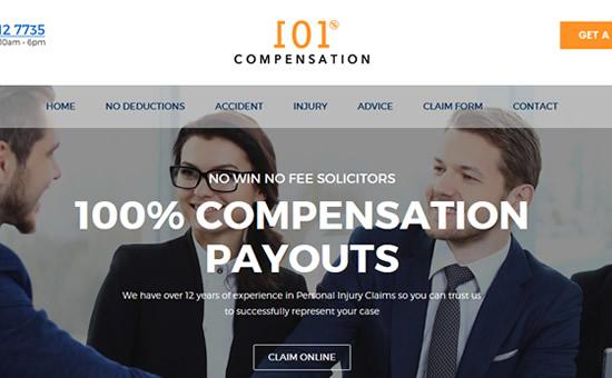 101% Compensation web screenshot